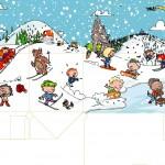 """Illustratie voor Menubox bergen, thema """"Winter"""""""
